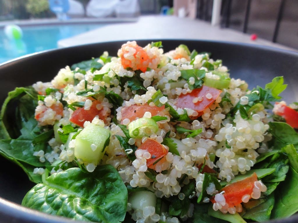 Tabbouleh Salad with Quinoa and Chickpeas on a plate