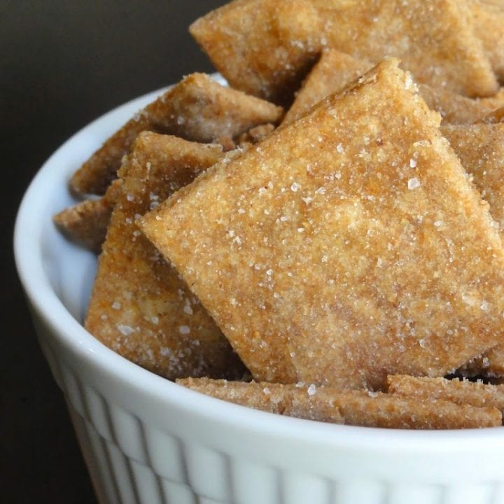 homemade wheat thins in a bowl