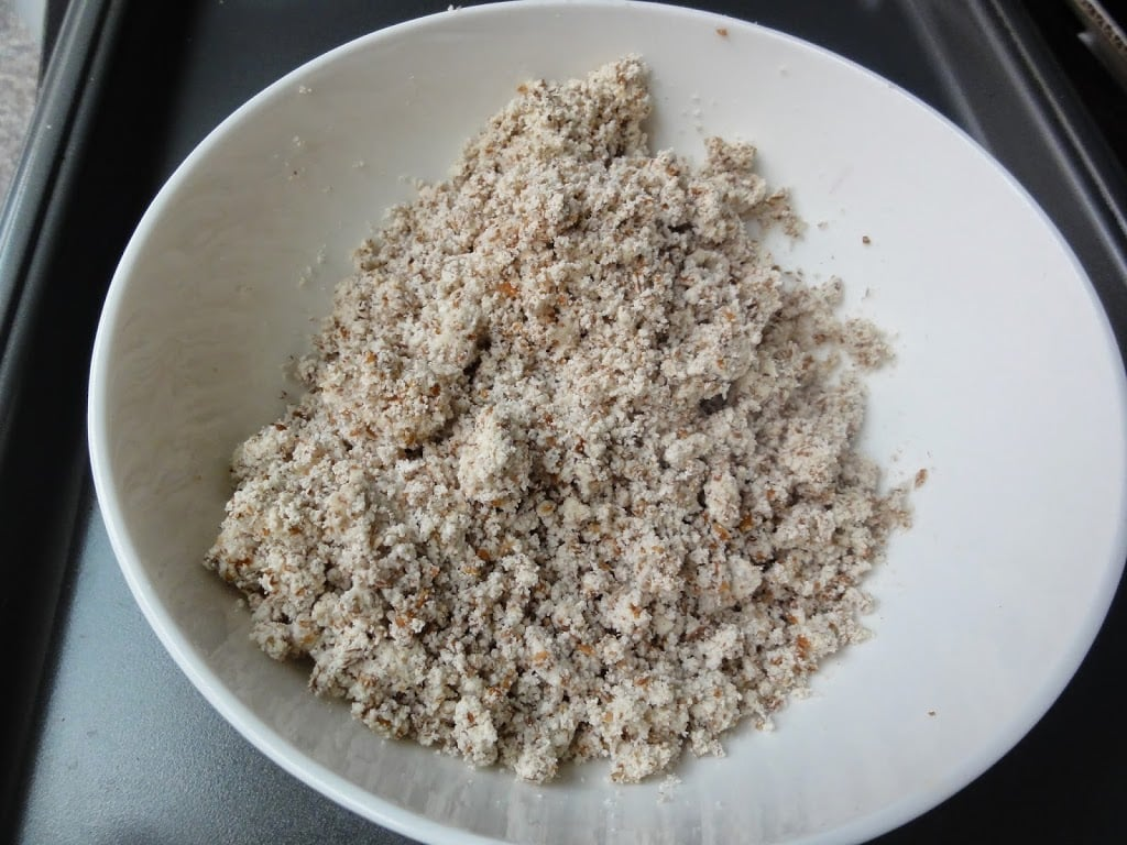 almond pulp in a bowl