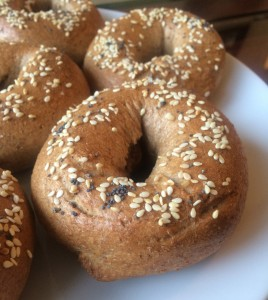 vegan whole wheat bagel recipe close up