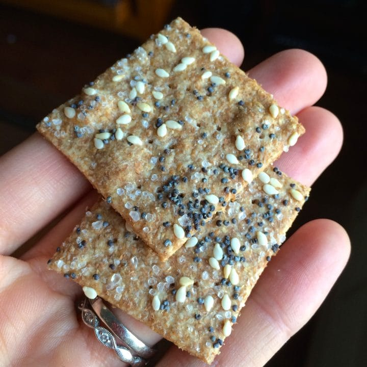 2 Whole Wheat Sesame Crackers on hand