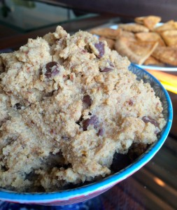 Healthy Chickpea Cookie Dough with Homemade Cinnamon and Sugar Pita Chips