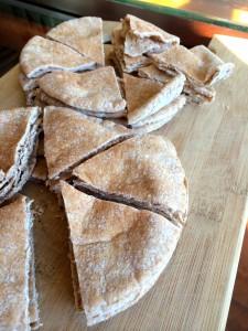 plain pita bread cut into triangles