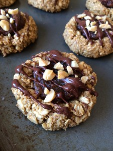 Vegan Snickers Thumbprint Cookies
