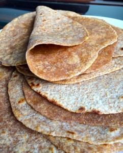 A pliable Homemade Whole Wheat Tortilla