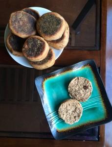 an open Whole Wheat Cinnamon Raisin English Muffins on a plate