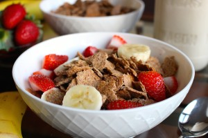 flaky homemade bran cereal in a bowl with fruit