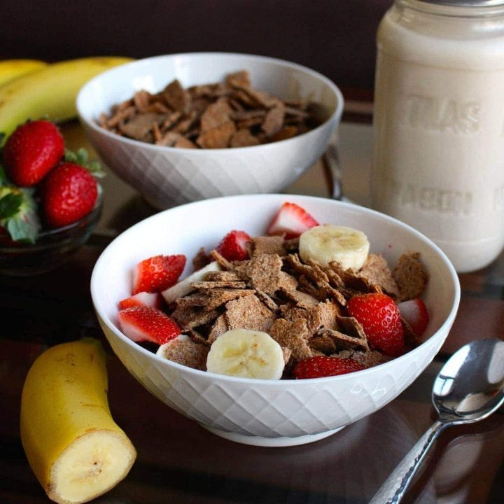 Homemade Bran Flakes Cereal in a bowl with fruit