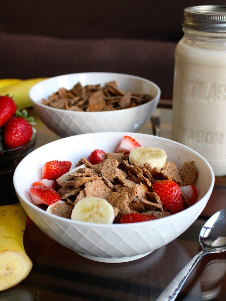 homemade bran flakes with banana and berries