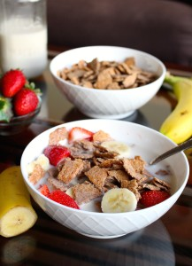 Homemade Bran Flakes Cereal swimming in almond milk