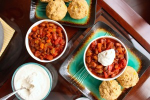 Three Bean Vegan Chili with Cashew Cream