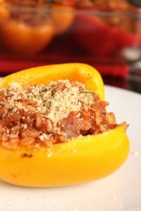 Simple Vegan Portobello and Rice Stuffed Peppers