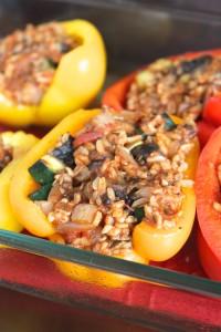 Simple Vegan Portobello and Rice Stuffed Peppers 4