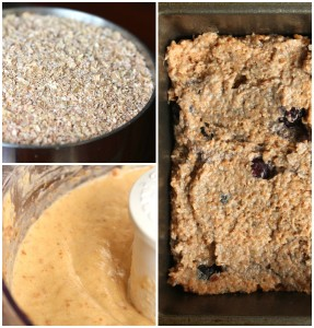 Wheat Bran Blueberry Banana Bread Collage