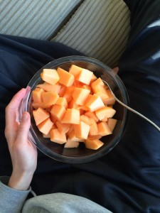 eating an entire cantaloupe