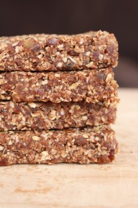 Easy Homemade Oatmeal Date Granola Bars stacked on each other