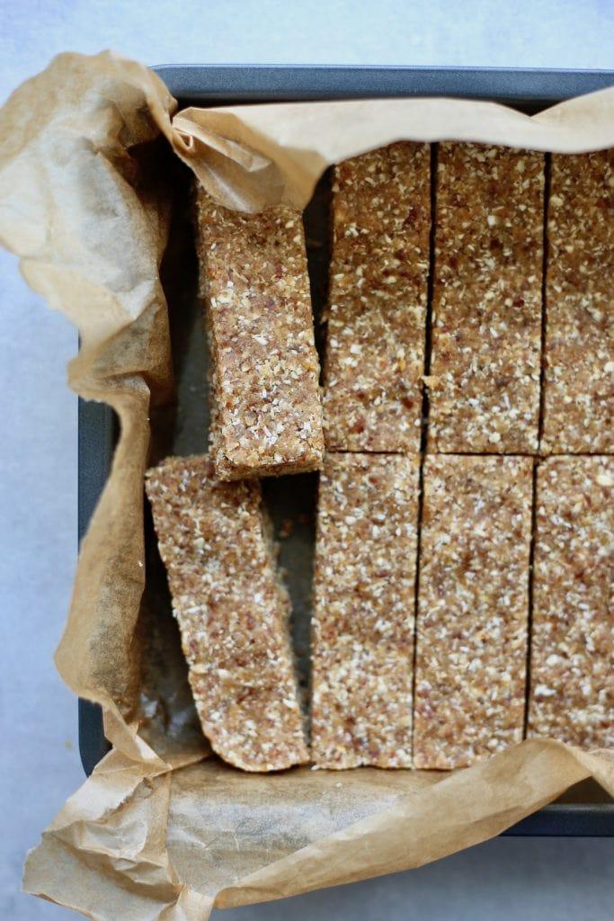 Homemade granola bars cut in a pan