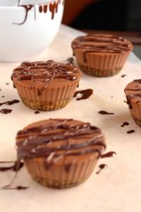 Mini Vegan Chocolate Cheesecakes drizzled with chocolate