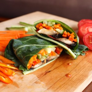 Raw Vegan Veggie Collard Wraps 5