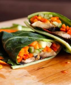 Raw Vegan Veggie Collard Wraps 6