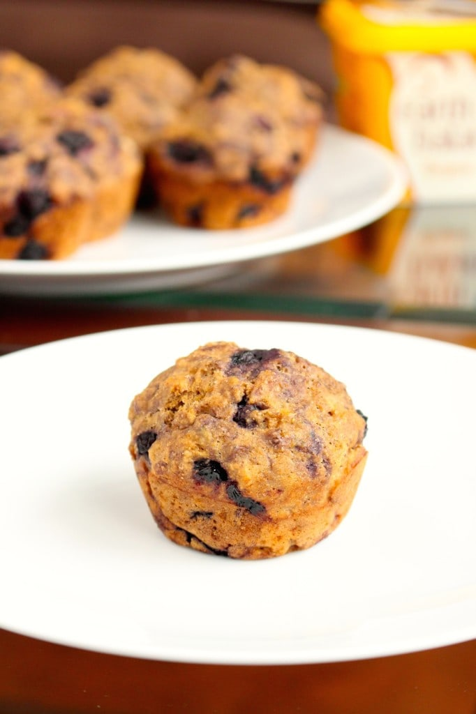 A single vegan blueberry muffin on a plate