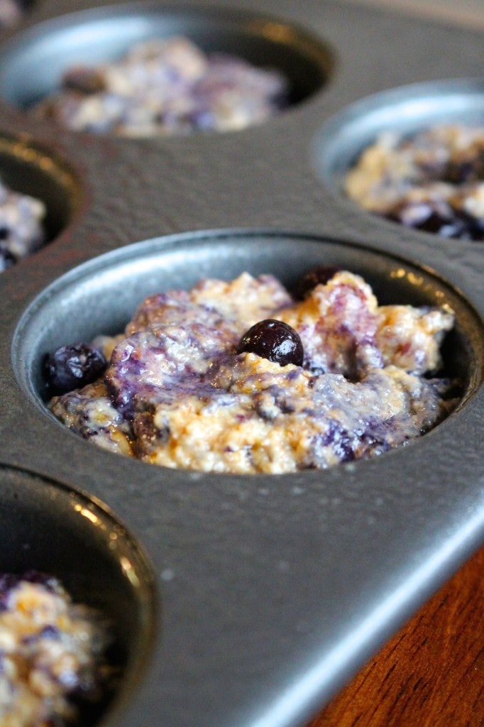 Muffin mixture in the baking tin