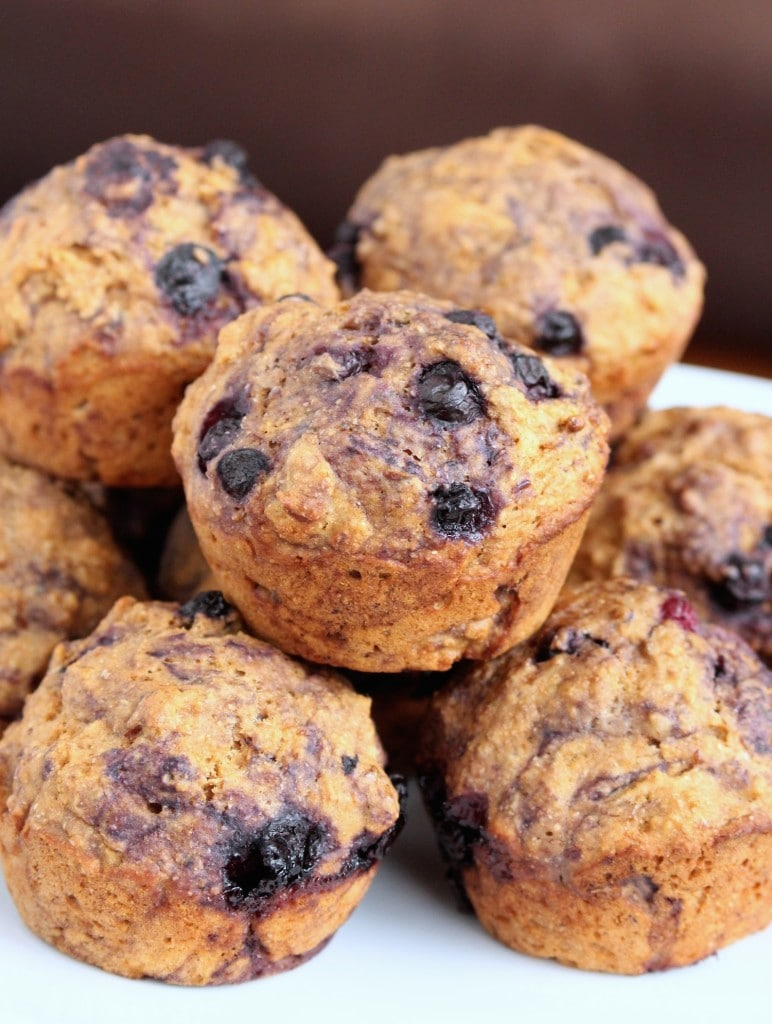 Stack of vegan blueberry muffins
