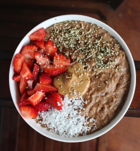 High Protein Vegan Chocolate Oatmeal with Hemp Milk