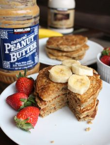 a stack of Whole wheat vegan banana pancakes