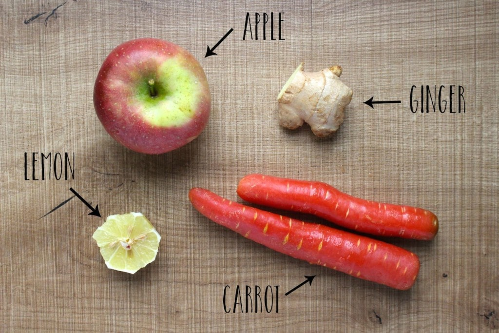 Ingredients for apple, carrot and ginger juice