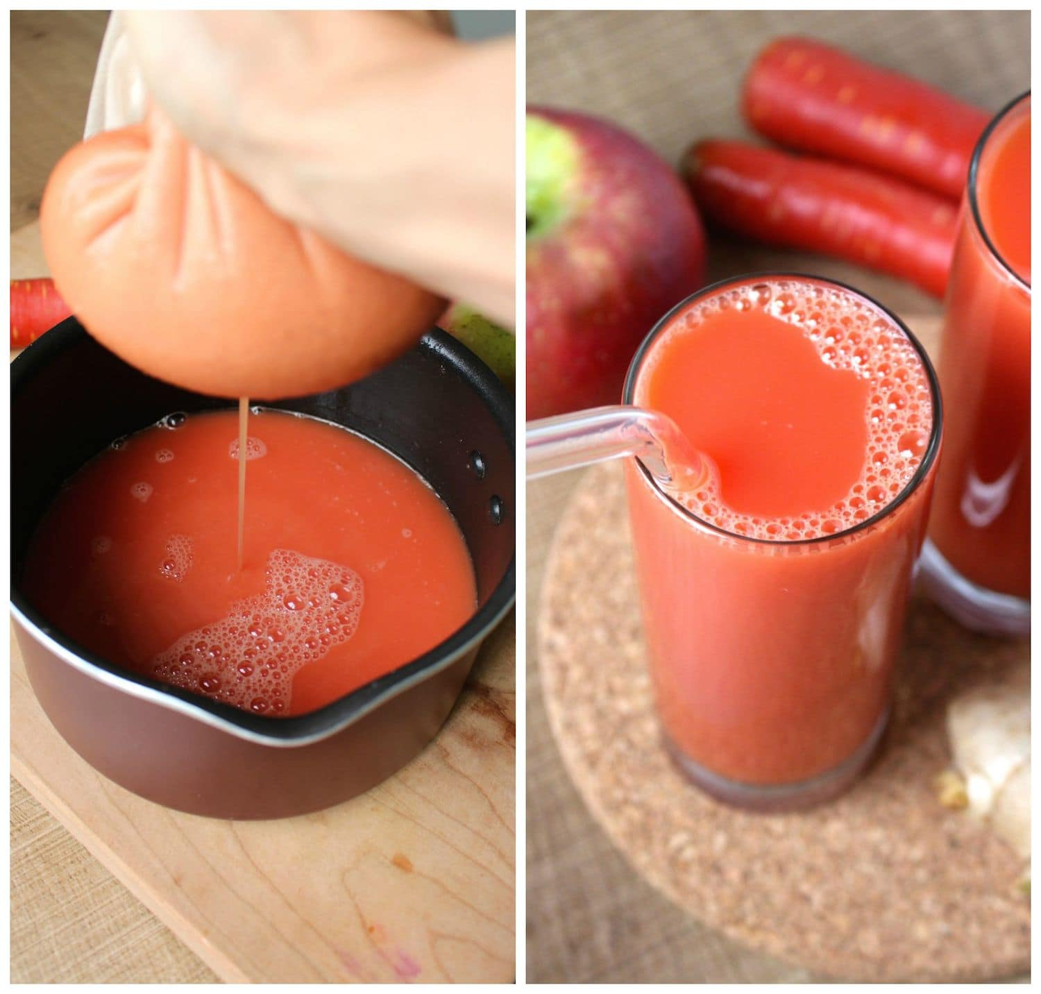 Straining Homemade Le Carrot And Ginger Juice