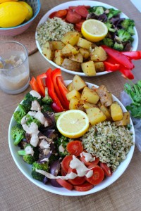 Cilantro Lemon Rice, Spicy Potatoes, Veggies & Tahini Dressing 7
