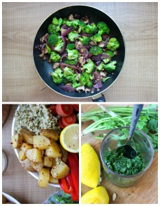 Cilantro Lemon Rice, Spicy Potatoes, Veggies & Tahini Dressing Collage