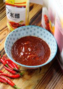 Vegan Sweet Chili Sauce in a bowl closeup