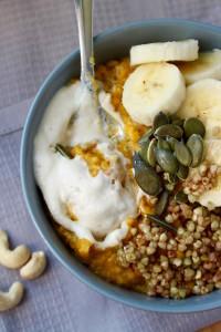 Pumpkin Oatmeal, Caramalized Buckinis, and Cashew Cream 1