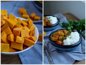 cubed pumpkin and pumpkin and carrot curry collage