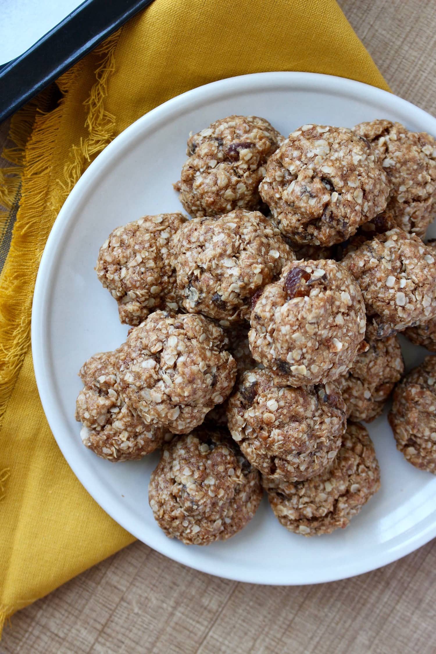 Chewy Vegan Oatmeal Date Cookies stacked on a plate
