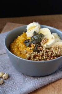 Pumpkin Oatmeal with Caramalized Buckinis and Cashew Cream