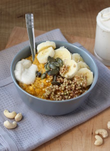 Pumpkin Oatmeal with Caramalized Buckinis and Cashew Cream 3
