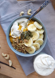 Pumpkin Oatmeal with Caramalized Buckinis and Cashew Cream 4