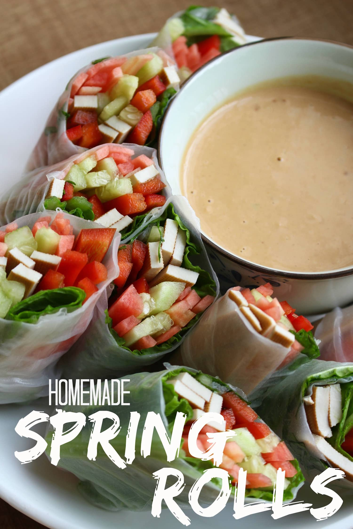 Homemade spring rolls with low fat peanut sauce the conscientious homemade spring rolls collage forumfinder Image collections