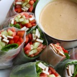 Homemade Spring Rolls with Low-Fat Peanut Sauce