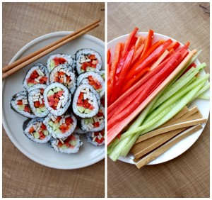 Sushi and fillings Collage