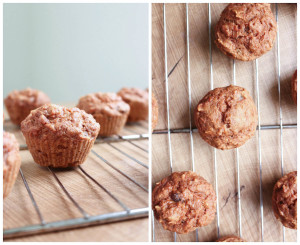 carrot cake muffins cooling on a wire rack