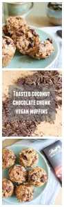 Toasted Coconut Chocolate Chunk Vegan Muffins Collage