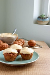 Vegan Carrot Cake Cupcakes with Cashew Frosting on a plate