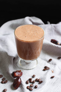 Healthy Dairy-Free Mocha Smoothie with coffee beans and dates