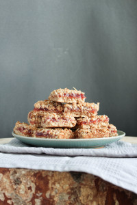 Vegan Strawberry Jam Oatmeal Bars stacked on a plate