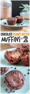 Chocolate Peanut Butter Muffins for Two Collage