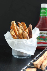 Oil-Free Baked Sweet Potato Fries with ketchup